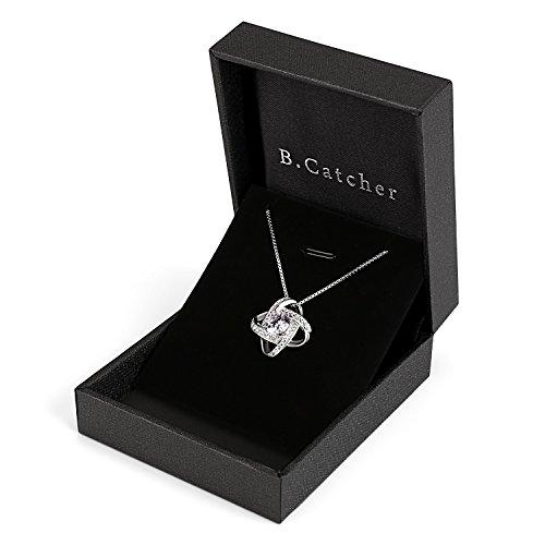 B.Catcher Kette Damen Halskette 925 Sterling Silber Anhänger Twist-Würfel Liebe Set 45CM Kettenlänge Geschenk für Damen