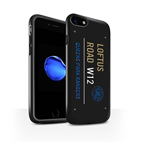 Officiel Queens Park Rangers FC Coque / Brillant Robuste Antichoc Etui pour Apple iPhone 8 / Noir/Bleu Design / QPR Loftus Road Signe Collection Noir/Or