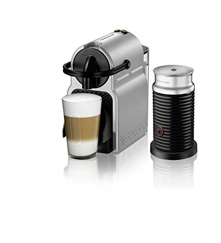 Nespresso inissia Espresso Maschine von de 'Longhi mit Aeroccino Nespresso von De'Longhi m silber