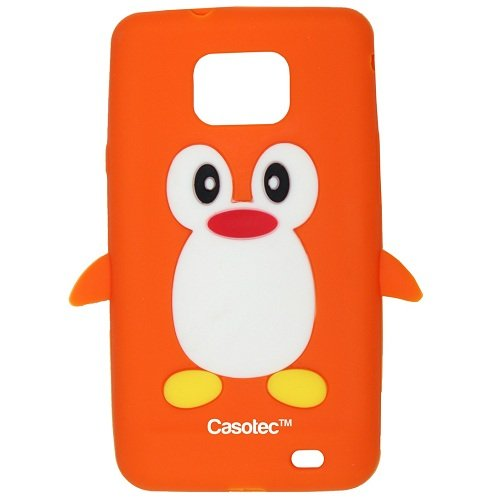Casotec Penguin Silicone Jelly Back Case Cover for Samsung Galaxy S2 i9100 - Orange  available at amazon for Rs.125