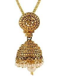 Dancing Girl Jhumka Jhumki Golden Metal Alloy Pendant Jewellery Sets For Women