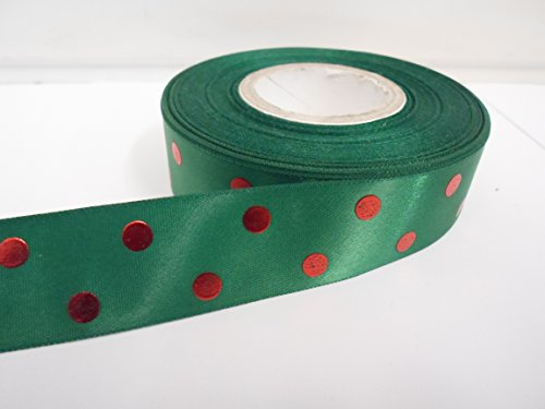2 mètres X 25 mm. Ruban de satin à pois/pois, vert émeraude à pois rouge métallisé 25 mm TVA enregistrée.