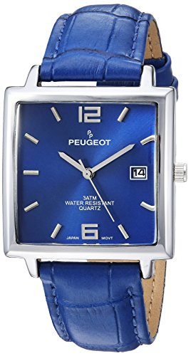 Peugeot Men's Analog-Quartz Watch with Leather Strap 2062BL