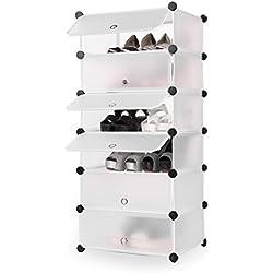 BUSYALL Zapatero Modular Estantería por Módulos para 12- 18 Pares de Zapatos DIY Armarios Estantería Organizador Mueble para Ropa Libros Zapatos Juguetes para Dormitorio Baño Habitación Salón, 6 Módulos