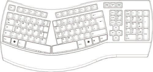 Perixx PERIBOARD-512 II Ergonomische Tastatur - Geteiltes Tastenfeld - USB - Empfohlen bei Tennisarm -QWERTZ Deutsches Layout - Schwarz - 9