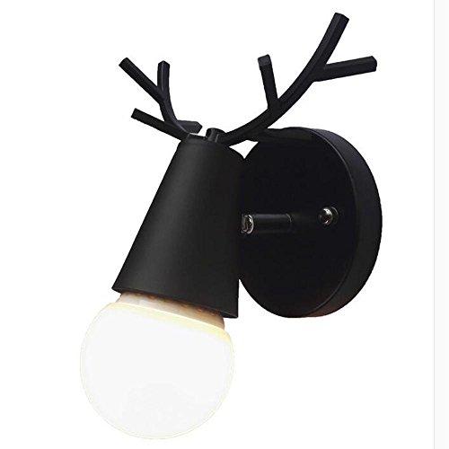 Rétro lampe murale industrielle Anime Faon créative Spot de plafond intérieur Table de nuit design élégant Métal Noir Fer Loft Bois Massif Mural Lampe CULOT de lampe chambre Gang Ø16 × 22 cm 1 * E27 A