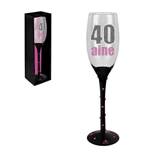 Flûte à Champagne Anniversaire en Verre - Flûte anniversaire 40 ans - Flûte anniversaire 40 ans