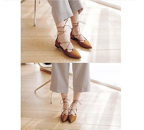 NobS Sandali Point Toe Large Size Scarpe Piane Cinturini Alla Caviglia Women Yellow