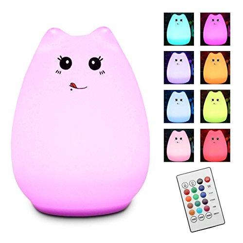 LED Nachtlicht, Elfeland süße Katze Nachttischlampe mit der Fernbedienung USB Dimmbare Touch Lampe aus Silikon mit 12 Farbwechsel für Kinder Babys Geburtstag Kinderzimmer Geschenk (Susu)