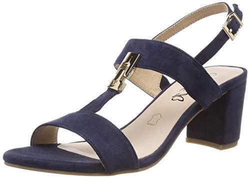CAPRICE Edison, Sandali con Cinturino alla Caviglia Donna, Blu (Ocean Suede 857), 37 EU