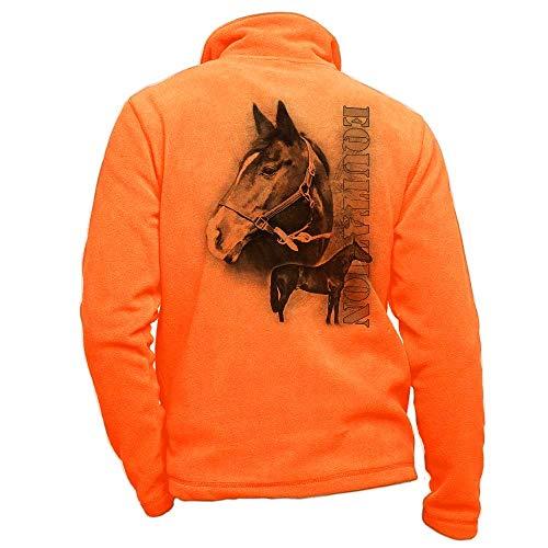 Pets-easy Veste en Polaire Orange personnalisé avec Un Cheval bai - Tenue d'équitation Taille 2XL