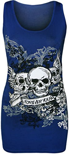 new-ladies-womens-plus-size-forever-young-skull-printed-vest-top-tee-t-shirt-8-22-xl-16-18-uk-royal-