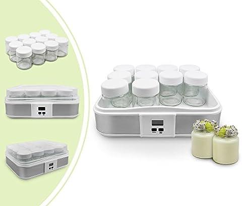 Leogreen - Yaourtière, Machine pour Yahourt Naturel, 12 pots, avec minuteur, 30,6 x 25 x 12,4 cm, Blanc, Capacité par jar: 0,21L, Réglage de la minuterie: 0-15 heures
