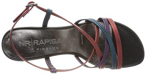 NR RAPISARDI Damen Pamela Slingback Sandalen Rot (Red/Purple/Peecock Furio)