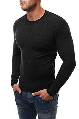 OZONEE Herren Pullover Hoodie Sweatshirt Slim-Fit LP6009 Schwarz