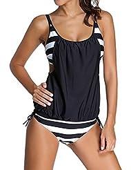 SUNNOW® Damen Bikini Set Streifen zweiteilig Schwimmanzug Tankini Bademode Strand Bikini Oberteile + Höschen