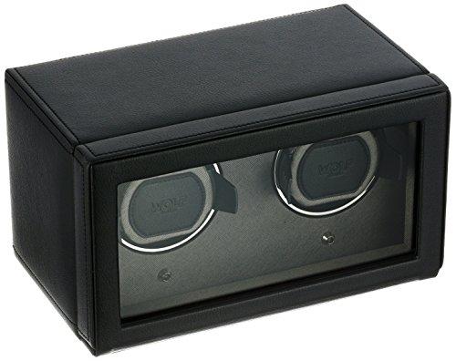 Wolf Designs Cub Double Uhrenbeweger mit Cover schwarz (Uhrenbeweger Wolf Batterie)