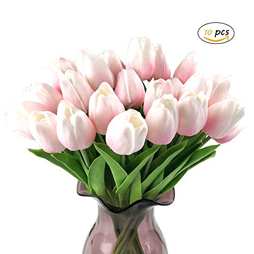 YGSAT10 Flores Artificiales|Tulipán Flores Artificiales|Plásticas Tulipanes|Tallo único|Para el Hogar Bricolaje|Jardín|Fiestas|Ramo de Boda|Decoración|Rosa