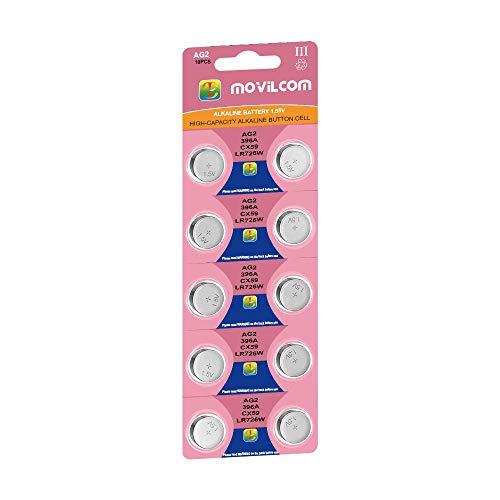 MovilCom® - Pila Botón AG2 Pilas Reloj 1 5V Equivalente a 397, SR726SW,  V397, D397, S726E, 607, 280-28, SB-AL, SR59, SR726, GP397, L726, 397A,  397X,
