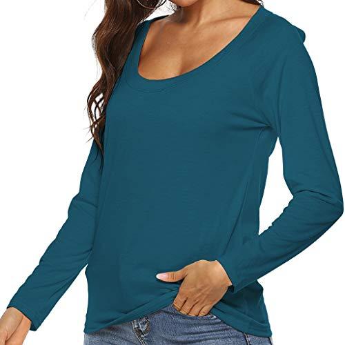 Geilisungren Damen Langarm T-Shirt Rundhalsausschnitt Bluse Aushöhlen Rückenfrei Langarmshirt Einfach Einfarbige Hemd Pullover Sweatshirt Oberteile Tops (Einfache Weise Mann Kostüm)