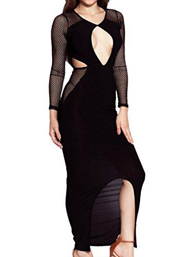 E-Girl SY60636 femme sexy Robe maxi Noir