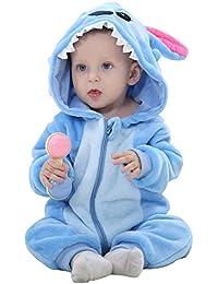 WSLCN Unisexe Bébé Grenouillères Combinaison Barboteuses Déguisement Manteau Capuche Mignon Costume de Enfants Stitch Pyjama Forme Animal