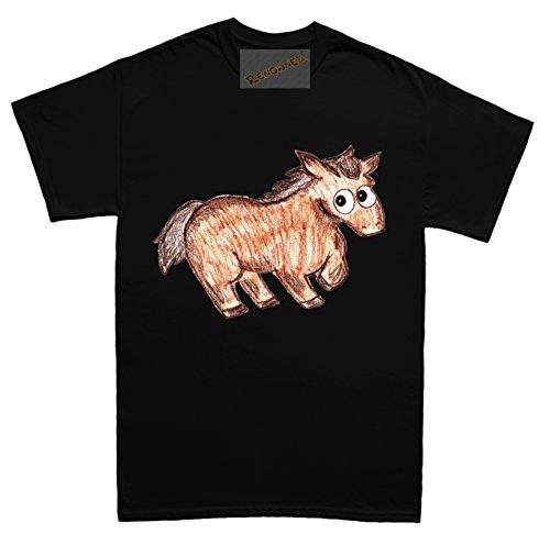 Renowned Baby Horse Coloured Drawing Sketch Herren T Shirt Schwarz