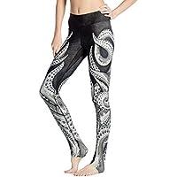 SYPNB Pantalones de Yoga súper elásticos. Pantalones de chándal con Cuerpo y Caderas Pantalón Femenino Puntos Transpirable y de Secado rápido. Estampado de Pulpo Gris Negro - otoño e Invierno,XXXL