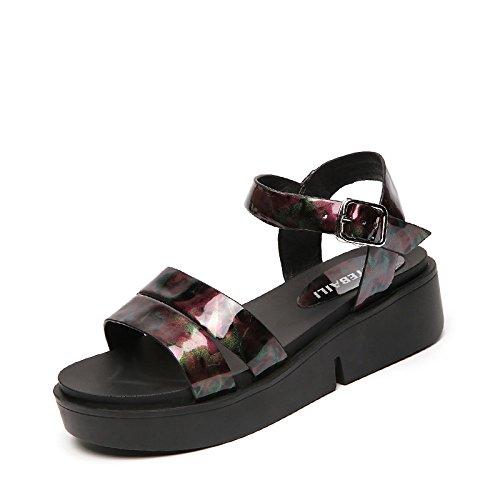 Lgk & fa estate sandali sandali da donna estate studenti tacco tacco spessore fondo piatto impermeabile piattaforma scarpa da donna, 35 blue 40 red