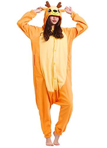 Jumpsuit Onesie Tier Karton Kigurumi Fasching Halloween Kostüm Lounge Sleepsuit Cosplay Overall Pyjama Schlafanzug Erwachsene Unisex Hirsch for Höhe 140-187CM