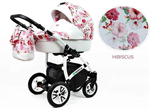 Lux4Kids Kinderwagen Jungle 3in1 2in1 Megaset Buggy Autositz Babyschale Sportsitz Hibiscus 2in1 ohne Autositz