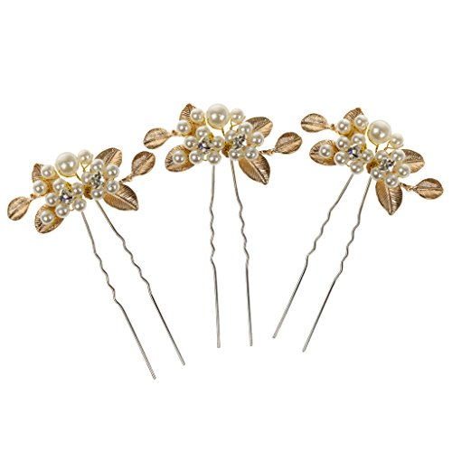Imported 3 Pin Handmade Crystal Bridal Golden Hair Jewelry Headdress Accessories