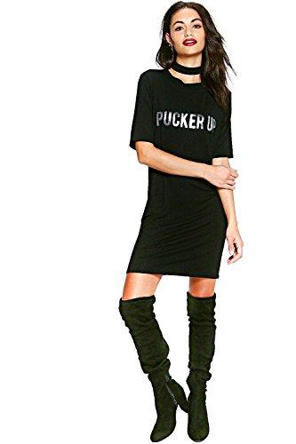 Argent Femme Iona Robe T-shirt Ras Du Cou Métallique Pucker Up Argent