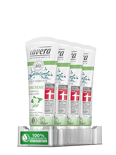 Fluorid-gel Minze (lavera basis sensitiv Zahncreme Mint, 4er Pack (4 x 75 ml))