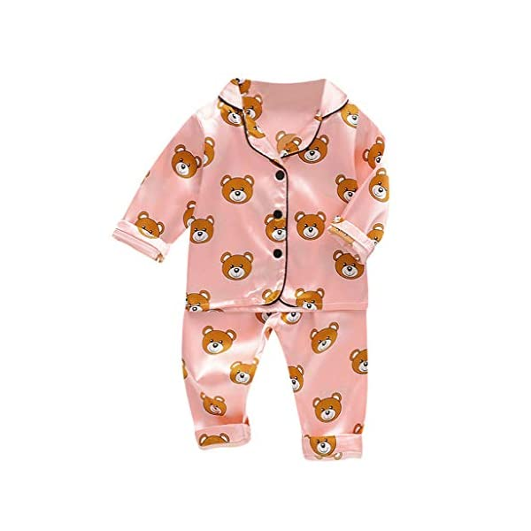 Conjunto de Trajes de niños pequeñosNiño Bebé Niños Manga Larga Dibujos Animados Oso Tops + Pantalones Pijamas Ropa de… 3