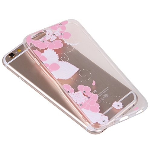 iPhone 6S plus Case,iPhone 6 plus Cover, Felfy Apple iPhone 6/6S plus 5.5 inch Rosa weiße Blume Muster Intarsien Shiny Funkeln Diamant Design Ultra Dünne weiche TPU Gel Silikon Transparent Clear Cryst Rosa Muster #9