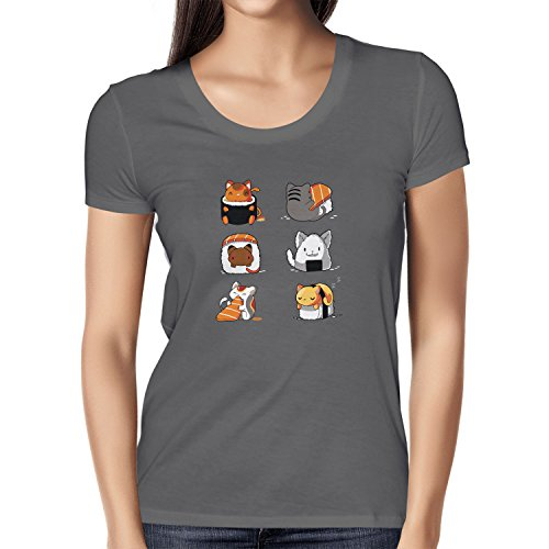 NERDO Cat Sushi - Damen T-Shirt, Größe S, Grau