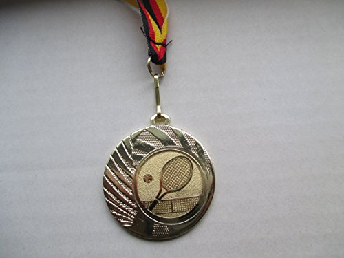 20 x Medaillen - aus Stahl 40mm - mit Einem Emblem, Tennis - Logo - inkl. Medaillen Band - Farbe: Gold - (e262) -