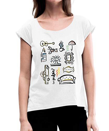 Spreadshirt Friends Icons Übersicht Frauen T-Shirt mit gerollten Ärmeln, L (40), Weiß