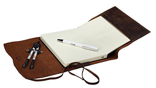 Greenburry Vintage Leder-Notizblock l Lederhülle A5 l Ledereinband A5 I Notizbuch aus Leder l Tagebuch I Geschenk für Männer I Reise-Tagebuch l 23x17x2cm