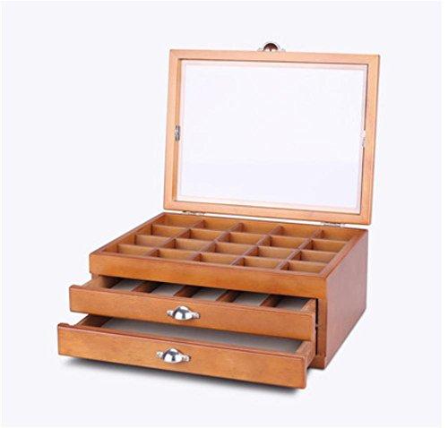 XYLUCKY Antike handgefertigte Solid Holz Retro Schmuck Box Halskette Schmuck Aufbewahrung Schrank Home Dekoration . brown . b -