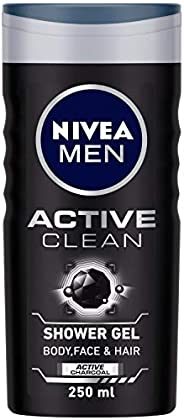 NIVEA Men Shower Gel, Active Clean Body Wash, Men, 250ml