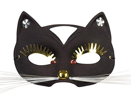 Frauen schwarze Katze Augenmaske mit goldenen Lashes - Halloween Kostüm Zubehör