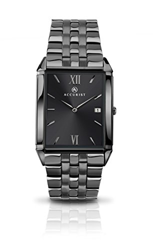 Accurist Men's Quartz Watch with Grey Dial Analogue Display and Grey Stainless Steel Bracelet 7063.01