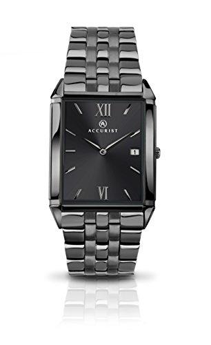 Accurist-Orologio da uomo al quarzo, colore: grigio con Display analogico e braccialetto in acciaio INOX con 7063,01, colore: grigio