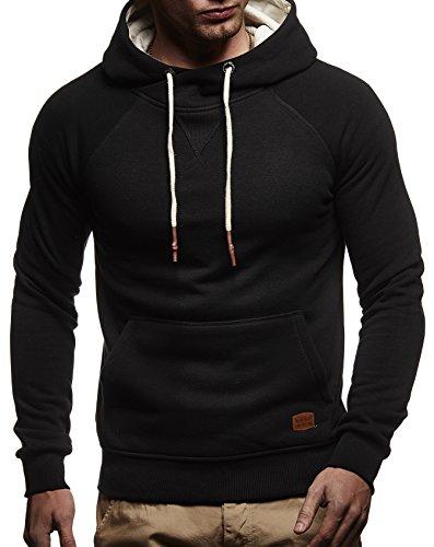 LEIF NELSON Herren Pullover Kapuzenpullover Hoodie oversize Sweatshirt mit Kapuze Longsleeve Biker Sweater Langarm LN8125; Grš§e L, Schwarz