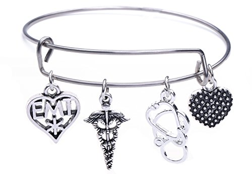 Dawapara Emergency Medical Technician EMT Caduceus mit Stethoskop Charme Armband Armreif Medical Symbol Schmuck