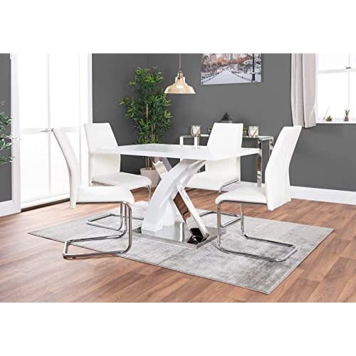 Atlanta 4 Rectangle White High Gloss Chrome Metal Modern Stylish 4 Seater Dining Table and 4 Luxury Faux Leather Lorenzo Dining Chairs Set (Dining Table + 4 Black Chairs)