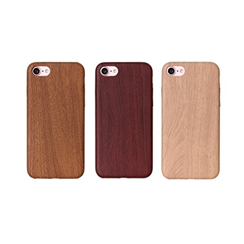 iPhone Case Cover Pour iPhone 7 chaud gravé texture bois PU couverture arrière ( Color : Apricot ) Yellow