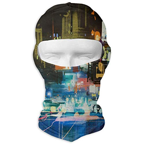 Vidmkeo Watercolor Painting of City at Night Winter Hiking Full Face Mask UV...